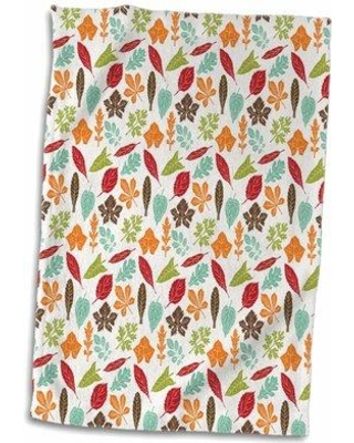 Find The Best Deals On East Urban Home Belmonte Fall Leaves Pattern Hand Towel Cotton Microfiber Terry In Red Brown Blue Size 22 W X 15 D Wayfair