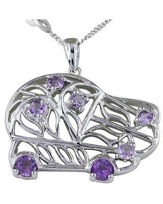 Amethyst Sterling Silver Round Solitaire Pendant by Orchid Jewelry