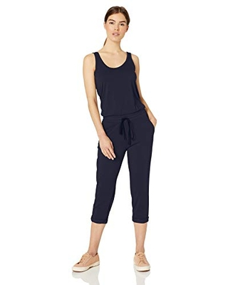 Michael Stars Women's Tank Jumpsuit with Drawstring Waist, Admiral, Large