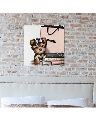 """Art Remedy Dogs and Puppies 'Fashion Book Yorkie Glam' Graphic Art Print on Wrapped Canvas 27770_XHD Size: 30"""" H x 30"""" W x 1.5"""" D"""