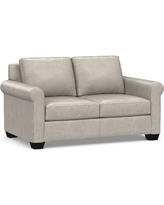 Prime York Roll Arm Leather Loveseat 63 Polyester Wrapped Cushions Statesville Pebble Onthecornerstone Fun Painted Chair Ideas Images Onthecornerstoneorg
