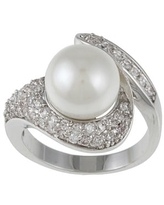 Kate Bissett Silvertone Faux Pearl and Clear Cubic Zirconia Fashion Ring (10)