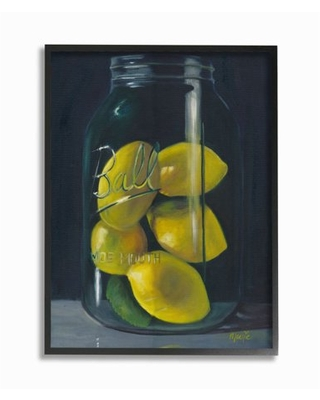 Stupell Industries Lemon Fruit Still Life Painting Framed Giclee Texturized Art by Marnie Bourque