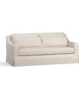 "York Slope Arm Slipcovered Deep Seat Sofa 80"" with Bench Cushion, Down Blend Wrapped Cushions, Performance Twill Stone"