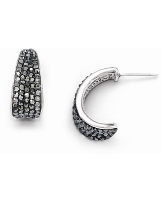 Stainless Steel Polished Crystal Post Earrings