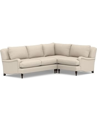 Carlisle Upholstered Left Arm 3-Piece Corner Sectional, Polyester Wrapped Cushions, Textured Twill Khaki