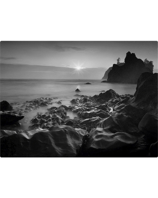 'Sunset At Ruby Beach' by Moises Levy Ready to Hang Canvas Wall Art, Graphite Gray Heather