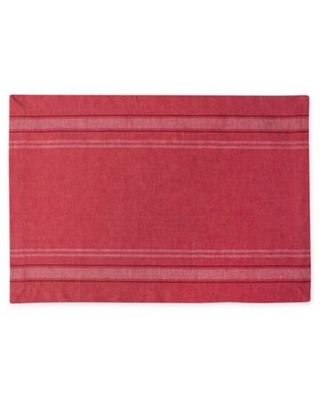 Design Imports French Chambray Placemats in Red (Set of 6)