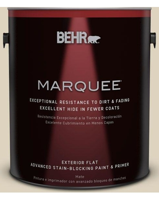 BEHR MARQUEE 1 gal. #PPU4-12 Natural Almond Flat Exterior Paint and Primer in One