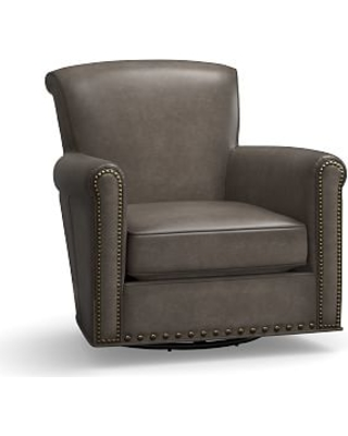 Irving Leather Swivel Armchair, Bronze Nailheads, Polyester Wrapped Cushions, Leather Burnished Wolf Gray