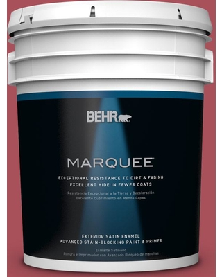 BEHR MARQUEE 5 gal. #T13-18 Ski Patrol Satin Enamel Exterior Paint and Primer in One