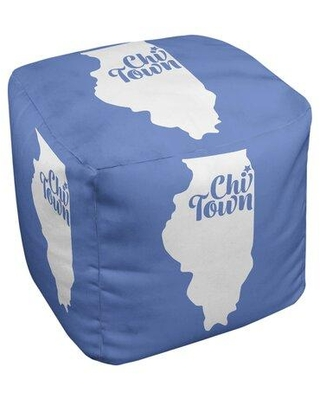 East Urban Home Chi Town Illinois Ottoman in Cube Insert (18 x 18 x 18) EBJC3206 Upholstery Color: Blue