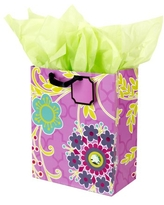 Hallmark Large Gift Bag with Tissue Paper for Birthdays, Baby Showers and More (Purple and Green Flower with Gem)