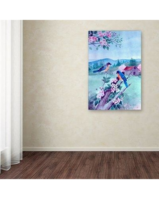 """Trademark Art 'Bluebirds and Apple Blossoms' Print on Wrapped Canvas ALI12243-C Size: 32"""" H x 22"""" W"""