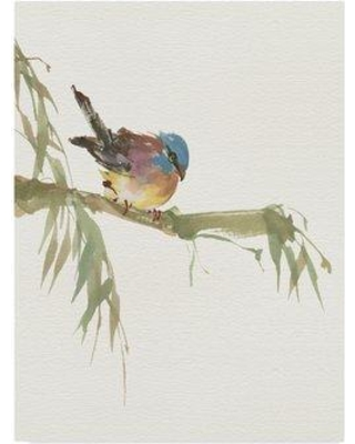 """Gracie Oaks 'Finch v2' Acrylic Painting Print on Wrapped Canvas GRCK2264 Size: 47"""" H x 35"""" W x 2"""" D"""