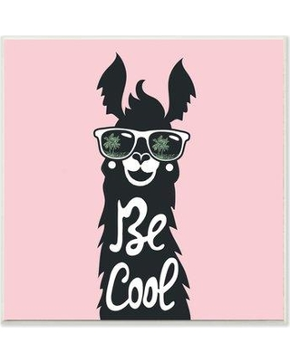 """Wrought Studio 'Be Cool Llama with Sunglasses' Graphic Art Print BF008667 Size: 12"""" H x 12"""" W Format: White Framed Wood"""