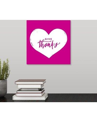 """Winston Porter Giclee 'Give Thanks Heart' Graphic Art Print W000498912 Format: Wrapped Canvas Size: 10"""" H x 10"""" W x 1.5"""" D"""