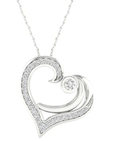 Imperial 1/6Ct TDW Diamond Sterling Silver Mom and Child Necklace (H-I, I2)