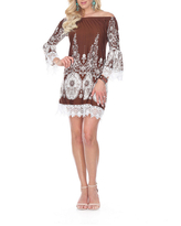 White Mark Mya 3/4 Sleeve Paisley Sheath Dress, Medium , Brown