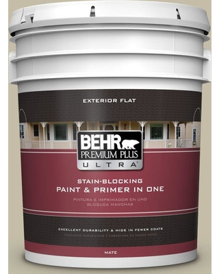 BEHR Premium Plus Ultra 5 gal. #PPU8-18 Celery Powder Flat Exterior Paint and Primer in One