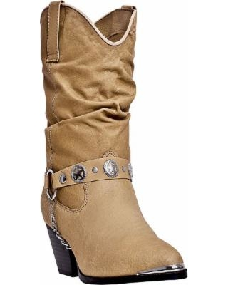 Women's Dan Post Slouch Cowboy Boot with Harness, Tan, Size 10 Wide