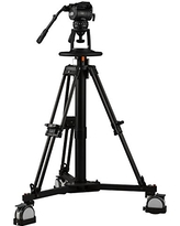 Ikan Pneumatic Studio Pedestal Kit, Maximum Height 722-inch, 100mm Bowl, w/GH25 Video Head, Wheeled Case Included (EP880SK) - Black