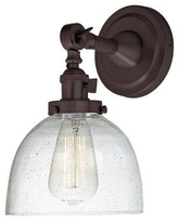 Shop Deals For Wrought Studio Rondon 1 Light Armed Sconce Finish Oil Rubbed Bronze Glass Metal In Bronze Gold Oil Rubbed Bronze Size 7 L X 6 W X 18 H