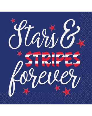 Stars & Stripes Forever 4th of July Paper Beverage Napkins, 5 in, 16ct