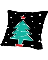 "East Urban Home Christmas Tree Print Cotton Throw Pillow ESRB1490 Size: 18"" H x 18"" W x 2"" D"