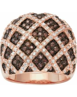 14k Rose Gold Over Silver Cubic Zirconia Lattice Ring, Women's, Size: 7, Brown