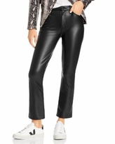The Insider Faux - Leather Ankle Flare Jeans In Faux Show - Black - Mother Pants