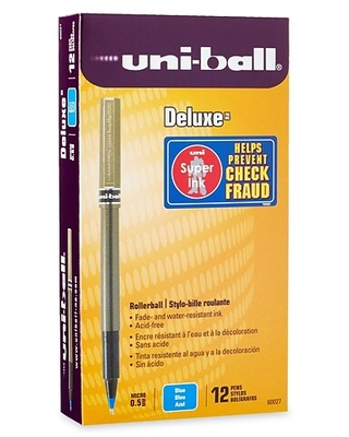 uni-ball Deluxe Rollerball Pens, Micro Point, Blue Ink, 12/Pack (60027)   Quill