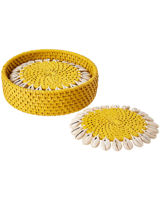 Set of 4 Shelby Coasters - Yellow/Ivory - Mode Living