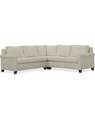 Cameron Roll Arm Upholstered 3-Piece L-Shaped Corner Sectional, Polyester Wrapped Cushions, Premium Performance Basketweave Oatmeal