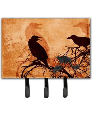 Caroline's Treasures Beware of The Crows Halloween Leash Holder and Key Hook SB3009TH68