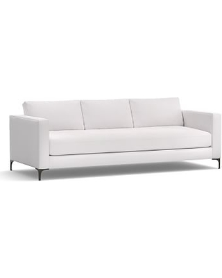 """Jake Upholstered Grand Sofa 96"""" with Bronze Legs, Polyester Wrapped Cushions, Twill White"""