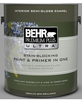 BEHR Premium Plus Ultra 1 gal. #PPU26-06 Elemental Gray Semi-Gloss Enamel Interior Paint and Primer in One