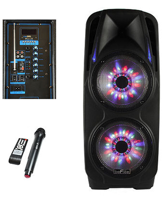 beFree Sound 2x10 Inch Woofer Portable Bluetooth Powered PA Party Speaker, One Size , Black