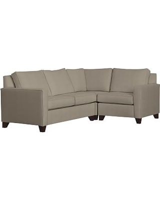 Cameron Square Arm Upholstered Left Arm 3-Piece Corner Sectional, Polyester Wrapped Cushions, Performance Everydayvelvet(TM) Carbon