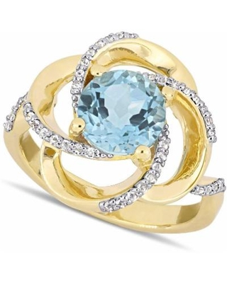 Blue Topaz (2-1/3 Ct. T.w.) & White Topaz (1/4 Ct. T.w.) Swirl Statement Ring In 18k Gold-plated Sterling Silver - Metallic - Macy's Rings