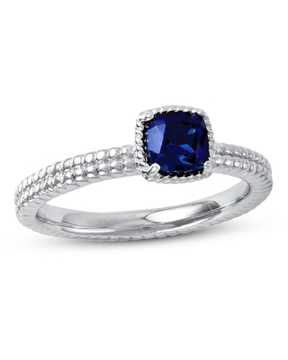 Jared The Galleria Of Jewelry Stackable Ring Lab-Created Sapphire Sterling Silver