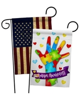 Amazing Deal On Breeze Decor Support Autism Inspirational Impressions 2 Sided Burlap 19 X 13 In Flag Set Bd St Gs 115132 Ip Db D Us18 Bd
