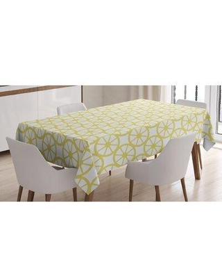 """East Urban Home Geometric Tablecloth, Polyester in Yellow, Size 84"""" x 60"""" 