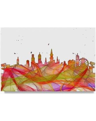 "Trademark Art 'New Orleans Skyline Swirl' Graphic Art Print on Wrapped Canvas MW00718-C Size: 30"" H x 47"" W"