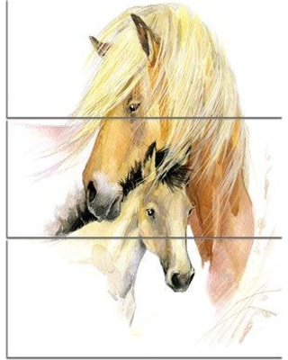 Design Art 'Horse Mom Baby Watercolor' 3 Piece Painting Print on Wrapped Canvas Set PT13458-3PV