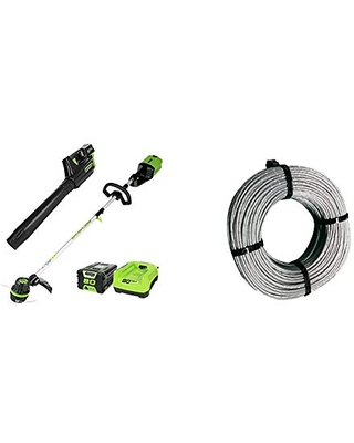 Greenworks PRO 80V Cordless Brushless String Trimmer + Leaf Blower Combo, 2Ah Battery and Charger Included STBA80L210 & .080-Inch 160-Foot Replacement String Trimmer Line 2906302