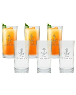 Carved Solutions Anchor Clear High Ball Glasses (Set of 6)