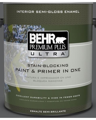 New Bargains On Behr Ultra 1 Gal N500 6 Graphic Charcoal Semi Gloss Enamel Interior Paint And Primer In One
