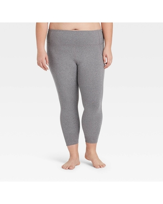 """Women's Plus Size Simplicity Mid-Rise 7/8 Leggings 27"""" - All in Motion Charcoal Heather 3X, Grey Grey"""