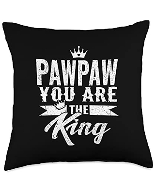 Family 365 Pawpaw The King Happy Fathers Day Men Gift6 Throw Pillow, 18x18, Multicolor